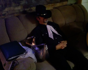 Jim Karns naps backstage at the Paint Valley Jamboree in Bainbridge, Ohio
